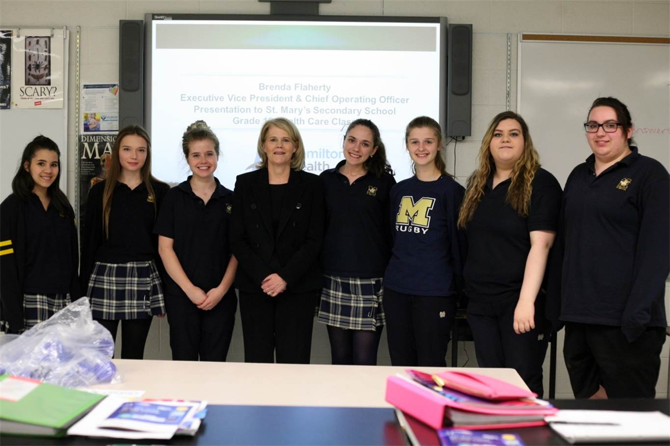 SHSM Health and Wellness Grade 12 Health care students with Brenda Flaherty. Photo by Nancy Castura.