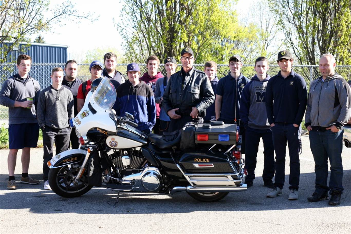 SHSM Transportation Motorcycle presentation with OPP Constable Gord Nederveen. Photo by Nancy Castura.