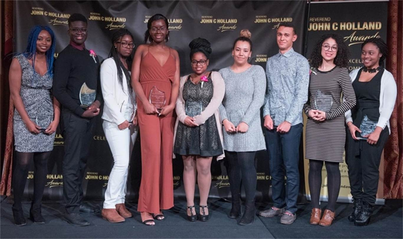 The youth winners of the 22nd Annual Rev John C. Holland Awards. They are, left to right: Sharon Nwamadi, winner of the Evelyn Myrie Bursary; Jordan Mathurin, winner of the Audre Lorde Scholarship; Chigwe Woremwu, winner of the Marlene Thomas Scholarship; Kayonne Christy, winner of the Lincoln Alexander Scholarship; Joelsa Domingos, winner of the Nelson Mandela Scholarship; Vivica Letang, winner of the Rev. George Horton Scholarship; Alec Purnell, winner of the Raymond G. Lewis Scholarship; Angelique DeSouza, winner of the Dr. Ethilda Johnson Bursary and Kudakwashe Chakanyuka, winner of the YWCA Scholarship. The Rev John C. Holland Awards were established to celebrate the rich cultural heritage of our community, with a particular focus on the contributions of African Canadians to the social, economic, and cultural life of our entire city. Photo by Scott Gardner, The Hamilton Spectator.
