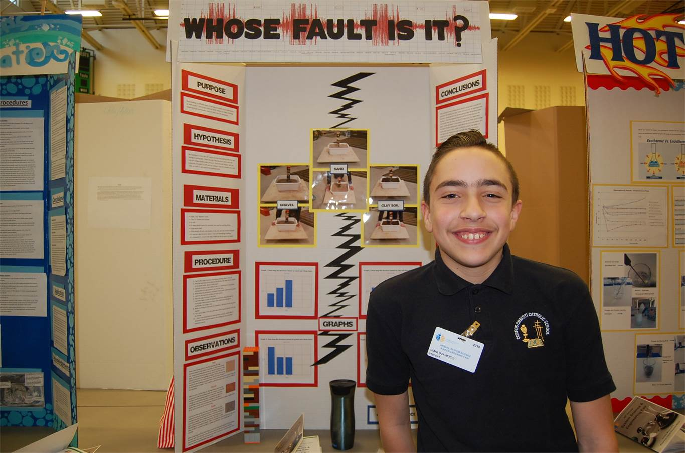 Gianluca Mucci, a Grade 6 student at Corpus Christi Catholic Elementary School, tested different surfaces in a simulated earthquake to measure which protects best during a real earthquake.