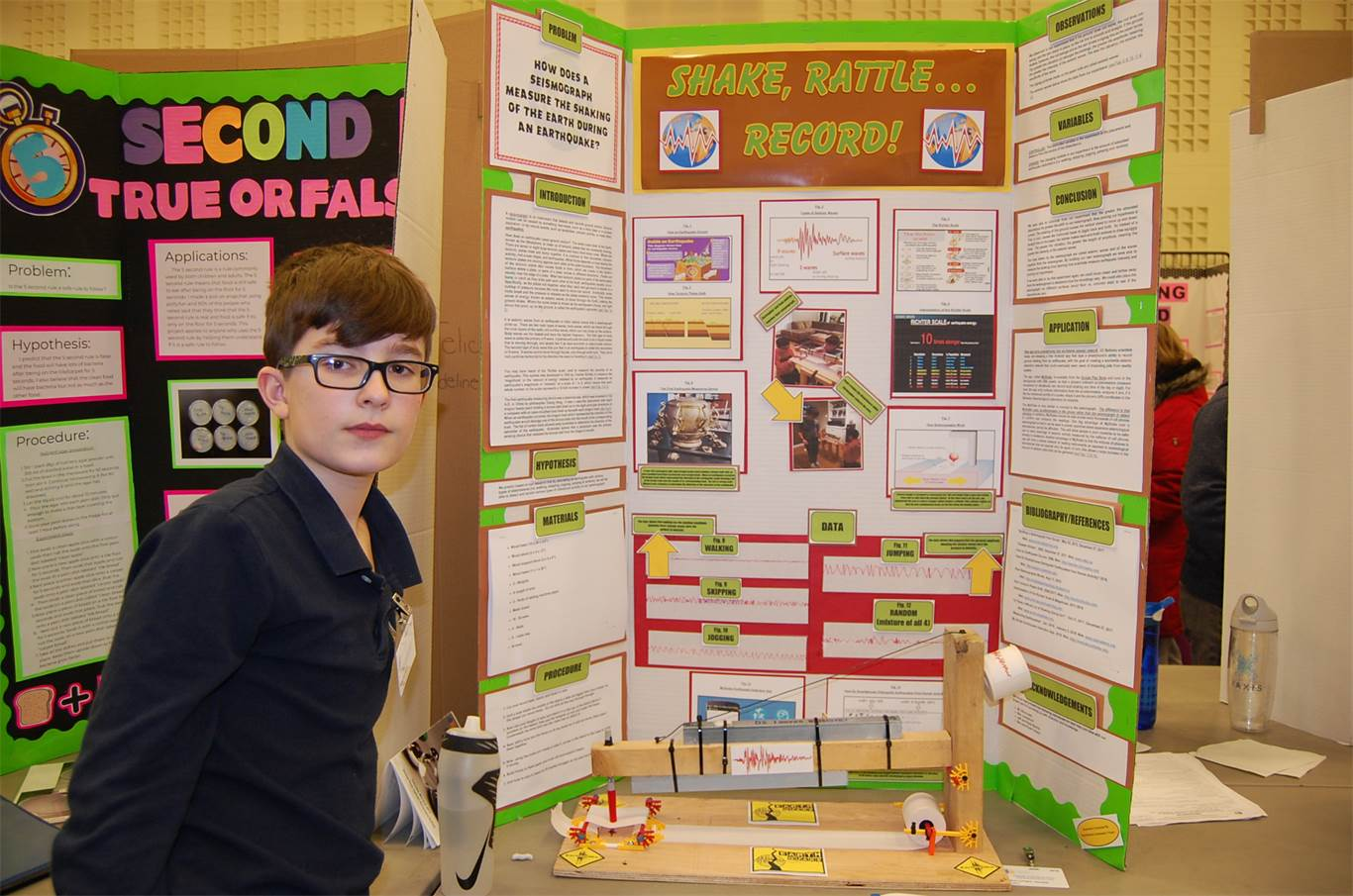 Ryan Reiche and his partner Christopher Troiani (absent) built a seisomograph using information sourced from the internet to measure the shaking of the earth during an earthquake. Science fair is mandatory for Grade 6 students at St. Gabriel Catholic Elementary School. It forces you to think, says Ryan.