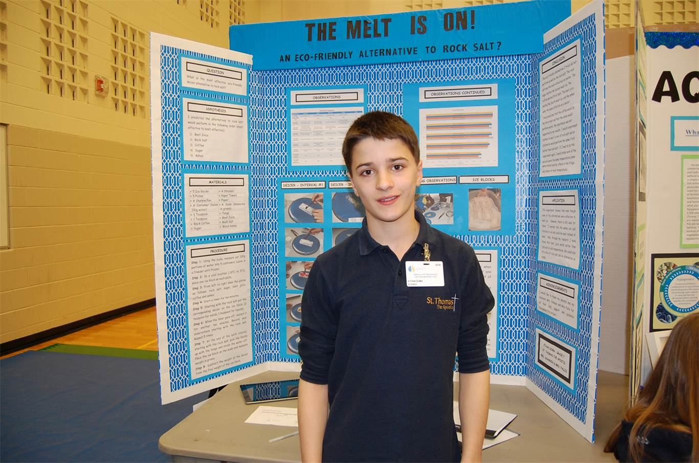 After seeing the effects of salt water on plants in his Grade 5 science project, Ethan Doma started to reflect on what salt water does to roads. After trying different substances to melt snow, including sugar, beet juice, coffee and ashes, Ethan -- now in Grade 7 at St. Thomas the Apostle-- found that while they don't work as well as salt water, the solution might be to