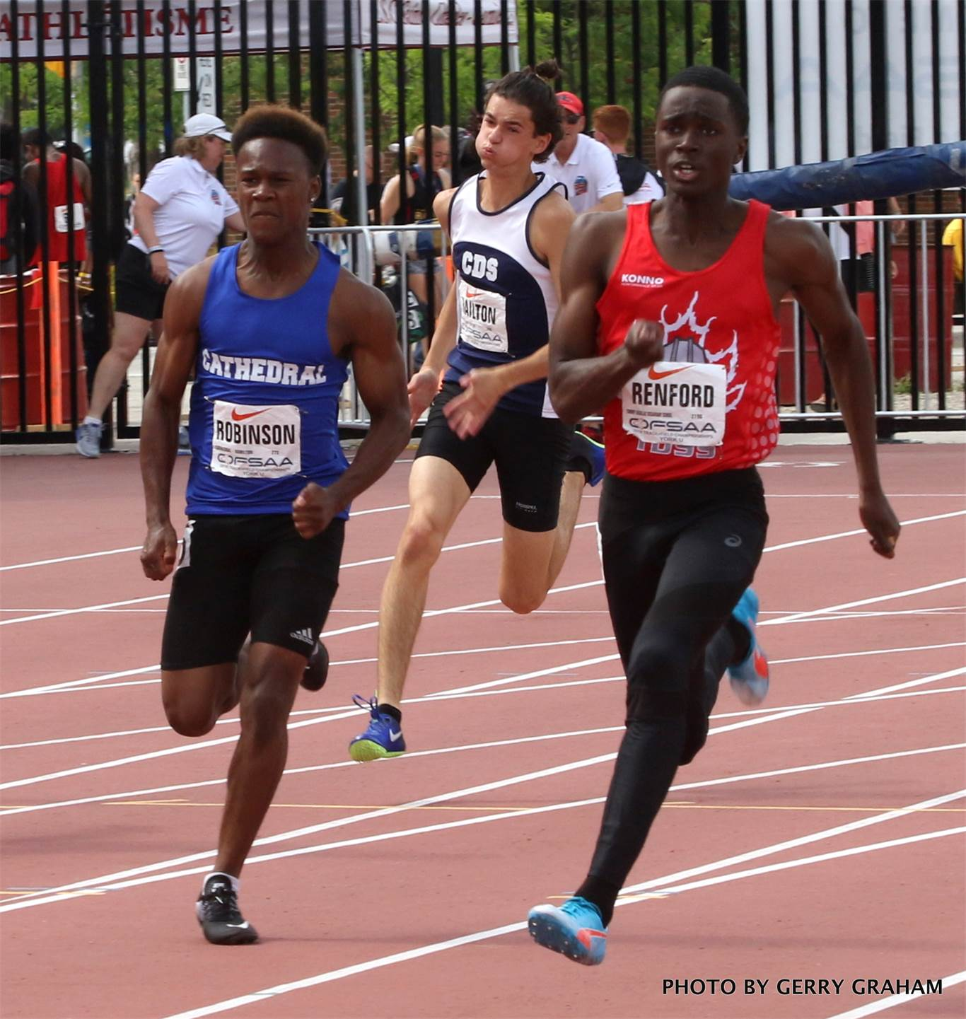 Nifaiya Robinson of the Cathedral Gaels earned a silver medal in the junior boys' 200m. His time Saturday was 22.30. The previous day, Robinson also won silver in the 400m (49.21). Photo by Gerry Graham.