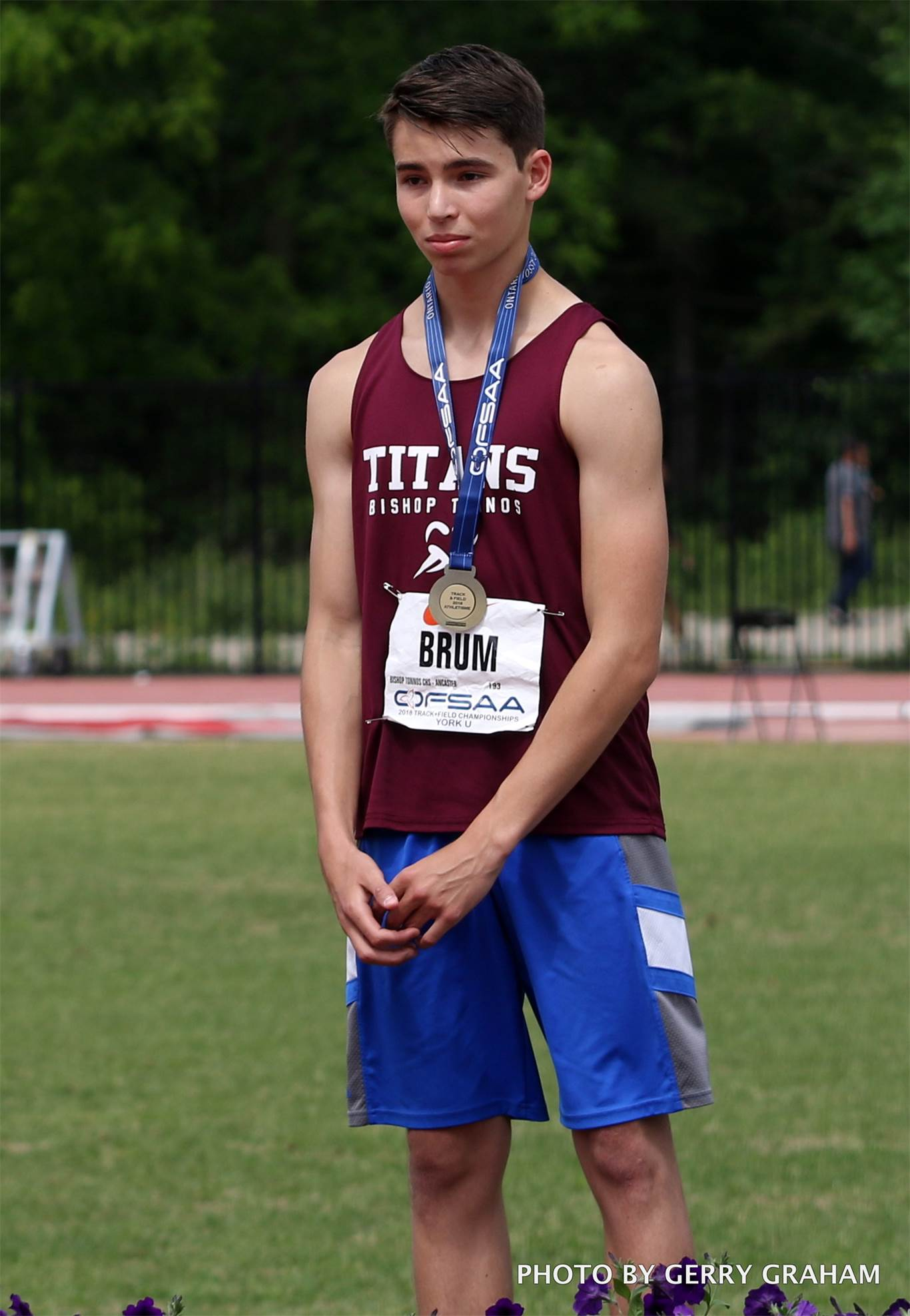 Tiago Brum of the Bishop Tonnos Titans sped to gold in the boys' visually impaired 800m (2:27.65). That added to his second-place showing from the day before in the 100m (13.96). Photo by Gerry Graham.