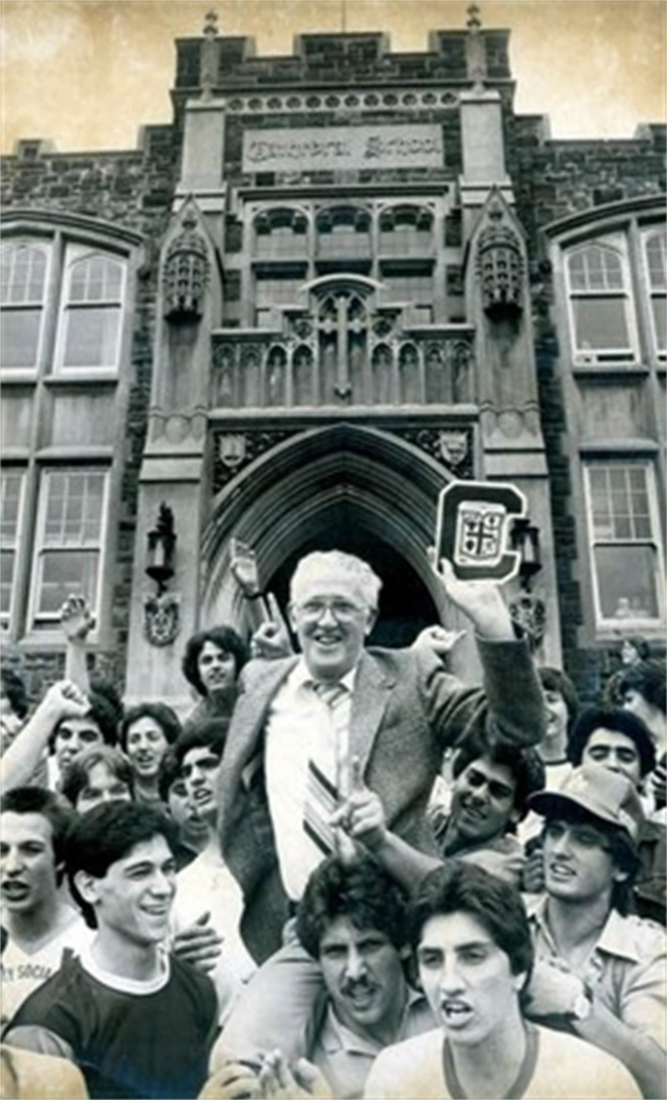 Cathedral students bid farewell to longtime teacher and principal John McPhee before he leaves for a new post at St. Jean De Brebeuf in 1981. - Hamilton Spectator File Photo