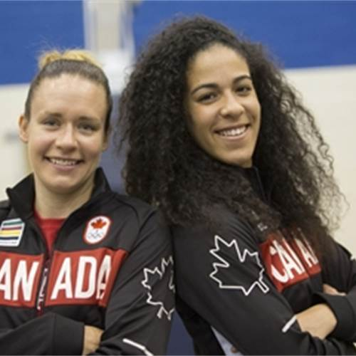 Hamilton's Shona Thorburn (left) and Kia Nurse are front and centre on Canada's Olympic women's basketball team. Photo by Rick Madonik, Toronto Star.