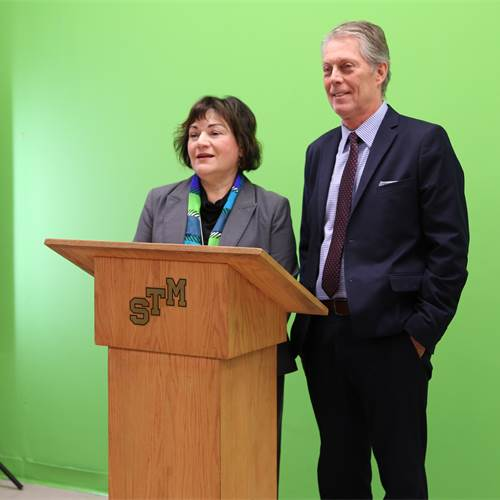 "Principal Sara Cannon and Mayor Fred Eisenberger kick off the ""Own Your School"" campaign which ensures staff and students pitch in to keep the school and neighbourhood clean."