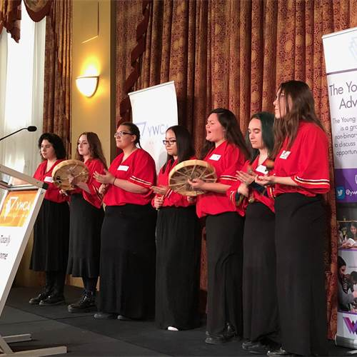 Cathedral's Female Drum Group opening the event in song.