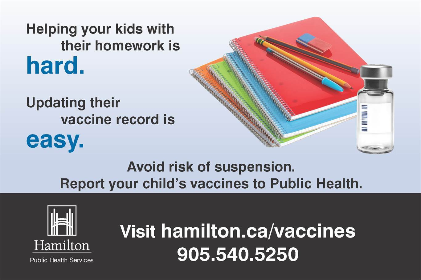 Avoid risk of suspension. Report your child's vaccines to Public Health.